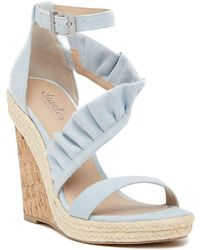 Charles David | Brooke Denim Ruffled Espadrille Wedge Sandal | Lyst