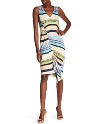 RACHEL Rachel Roy - Asymmetrical Cinched Stripe Dress - Lyst