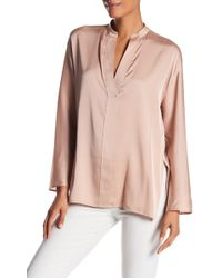 Vince | Split V-neck Silk Blend Blouse | Lyst