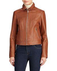 Lauren by Ralph Lauren - Shirt Collar Leather Jacket - Lyst