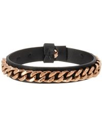 Steve Madden - Curb Chain Leather Bracelet - Lyst