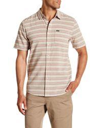Volcom - Sable Short Sleeve Modern Fit Stripe Woven Shirt - Lyst