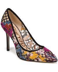 Sam Edelman - Hazel Embroidered Pointed Toe Pump - Lyst
