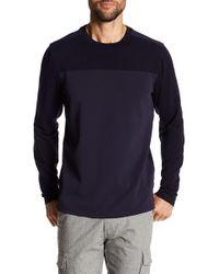 Quinn - Mixed Media Long Sleeve Crew Neck Sweater - Lyst