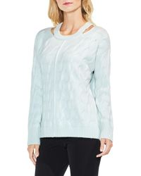 Vince Camuto - Keyhole Neck Cable Sweater (regular & Petite) - Lyst