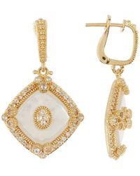 Judith Ripka - 14k Gold Plated Sterling Silver Westport Diagonal Cushion Drop Earrings - Lyst