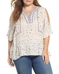Wit & Wisdom - Embroidered Cold Shoulder Top - Lyst