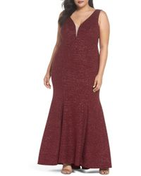 Xscape - Metallic Knit Mermaid Gown (plus Size) - Lyst
