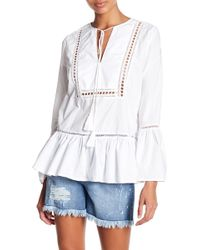 Seven7 - Tie Neck Bell Sleeve Blouse - Lyst