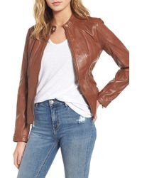 Guess - Collarless Leather Moto Jacket - Lyst