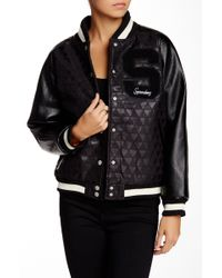 Supremebeing - Faux Leather Varsity Bomber Jacket - Lyst
