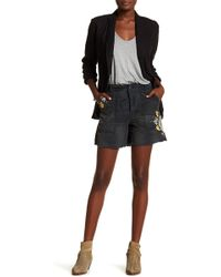 Free People - Embroidered Floral Camo Print Shorts - Lyst