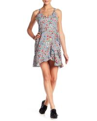 Lush - Ruffle Trim Wrap Skirt Printed Dress - Lyst