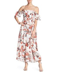 ANAMÁ - Cold Shoulder Floral Maxi Dress - Lyst