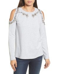 Halogen | Beaded Cold Shoulder Sweatshirt | Lyst