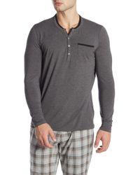 BOSS - Long Sleeve Henley Shirt - Lyst
