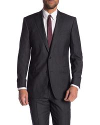 Brooks Brothers - Gray Striped Two Button Notch Lapel Wool Regent Fit Blazer - Lyst