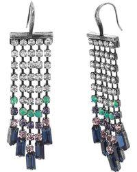 Steve Madden - Multi-colored Crystal Fringe Chain Earrings - Lyst