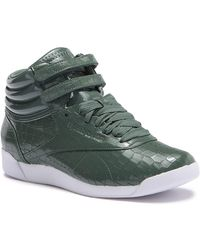 Reebok - Freestyle Hi Crackle Patent Leather High Top Sneaker - Lyst