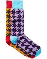 Jared Lang - Large Herringbone Crew Socks - Pack Of 2 - Lyst