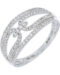 Bony Levy - 18k White Gold Pave Diamond Interlocking Wide Double Band Ring - 0.32 Ctw - Lyst