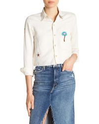 Mother - Embroidered Crop Blouse - Lyst