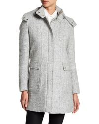 Kenneth Cole - Tweed Wool Blend Trench Coat - Lyst
