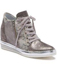 Khrio - Snake Printed Contrast Wedge Sneaker - Lyst