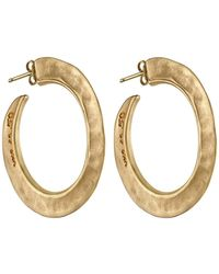 Uno De 50 - Gold Plated Micron Silver 50mm Hammered Hoop Earrings - Lyst