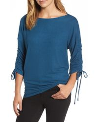 Gibson - Tie Sleeve Fleece Top - Lyst