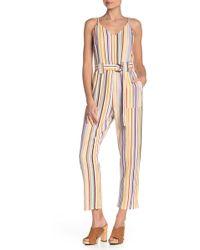 Mustard Seed - Belted Stripe Jumpsuit - Lyst