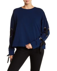 Two By Vince Camuto - French Terry Lace-up Long Sleeve Jumper - Lyst