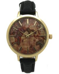 Olivia Pratt - Women's World Map Leather Watch - Lyst