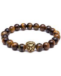 Something Strong - 8mm Zinc Alloy Imitation Lava Stone Expandable Beaded Lion Bracelet - Lyst