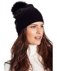 Sofia Cashmere - Genuine Fox Fur Pompom Beanie - Lyst