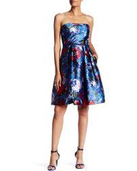 Pamella Pamella Roland - Floral Print Sateen Twill Strapless Party Dress - Lyst