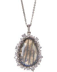 Nadri - Oasis Pear Stone & Crystal Halo Pendant Necklace - Lyst