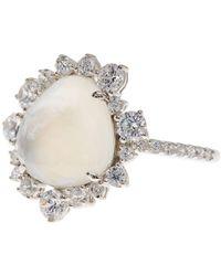 Nadri - Oasis Stone & Halo Set Crystal Detail Ring - Size 7 - Lyst