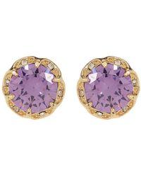 Betsey Johnson - Round Purple Cz Scalloped Halo Earrings - Lyst