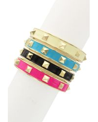 Sparkling Sage - Detailed Pyramid Spike Bangle Set - Lyst