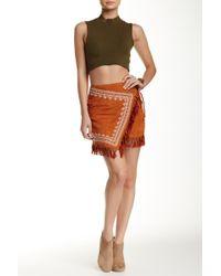 Blu Pepper - Embroidered Wrap Fringe Skirt - Lyst