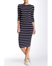 Blu Pepper - Striped Knit Dress - Lyst