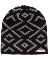 Bench - Jet Black Patterned Knit Cuffed Beanie - Lyst