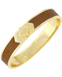 Cole Haan - 12k Gold Plated Thin Hinged Leather Inlay Bangle - Lyst