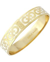 Cole Haan - 12k Gold Plated Logo Enamel Bangle - Lyst