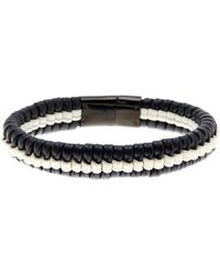 Cole Haan - Black & White Woven Leather Bracelet - Lyst