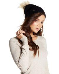 Cole Haan - Faux Fur Pompom Knit Beanie - Lyst