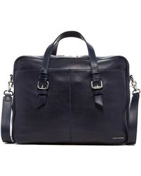 Cole Haan - Dual Zip Top Leather Briefcase - Lyst