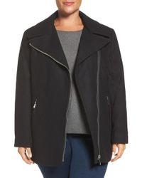 Calvin Klein - Asymmetrical Wool Blend Coat - Lyst