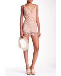 California MoonRise - Surplice Neck Lace Romper - Lyst